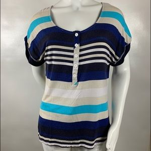 3For$20 -89th & Madison Blue Striped Top size:XL